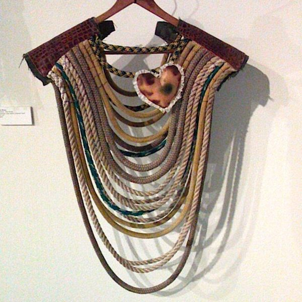 """Warrior Rope Poncho- various synthetic ropes, leather, potpourri heart, 21x27"""""""