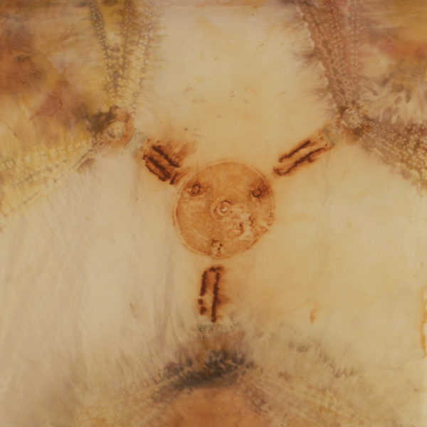 Enlightenment - silk, rust, shibori, natural dyes, patina, 29x26""