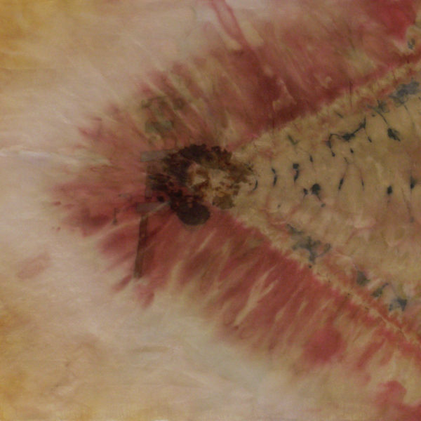Vision- silk, rust, patina, shibori, natural dyes, 13x13""